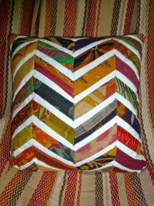 chevron sari pillow