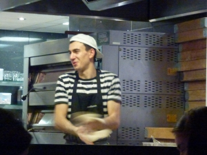 Pizza express making pizza fresh